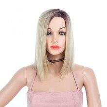 дешево✲  GRES Machine Made Женщины Средней длины Высокотемпературные парики Ombre для леди-блондинки / Серый  Лучший!