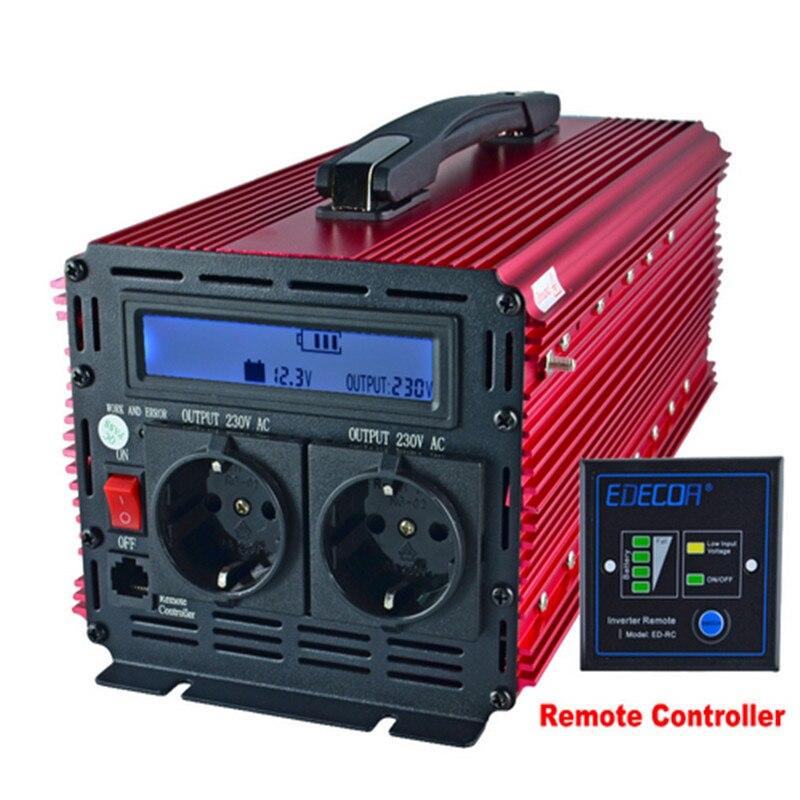 цена на EDECOA power inverter 3000W watt DC 12V AC 230V modified sine wave inverter off grid inverter handle LCD display remote control