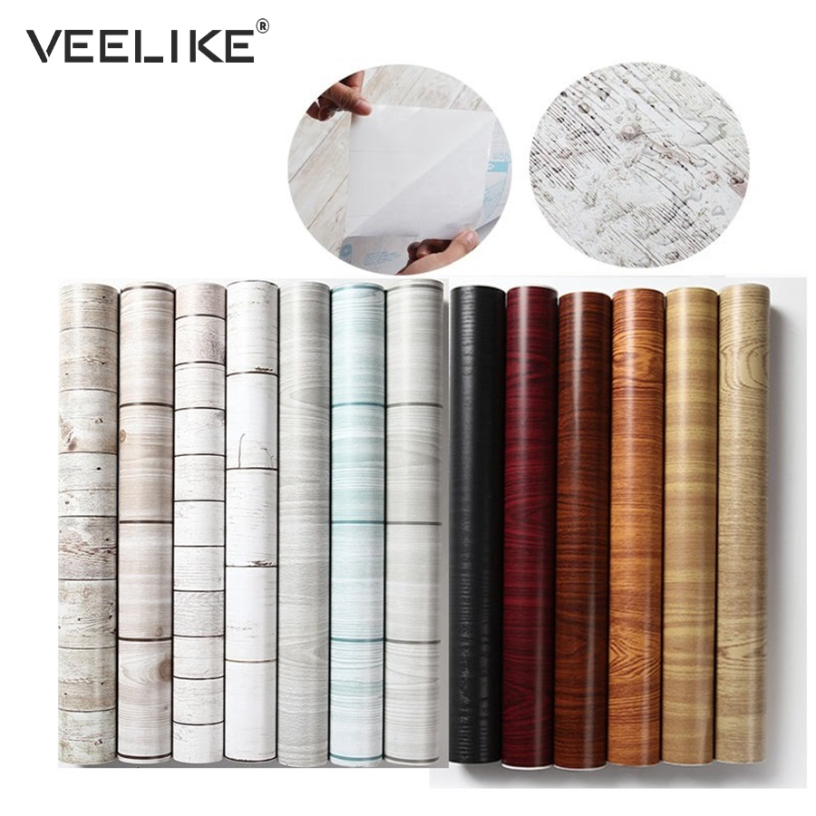 PVC Self Adhesive Wallpaper For Kitchen Cabinets Furniture Decorative Vinyl Film Wood Grain Shelf Liner Adhesive Contact Paper
