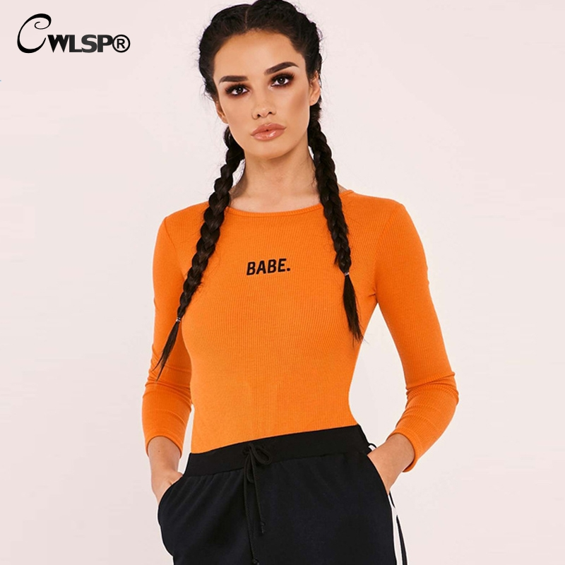 CWLSP Fitness Sexy Bodysuit Women Embroidery BABE Letter Jumpsuit Long sleeve Ribbed body feminino combinaison femme overalls