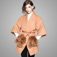 2017 Winter Fashion Loose Sashes Fur Pocket Camel Coat Exquisite Women Silm Wool Coat