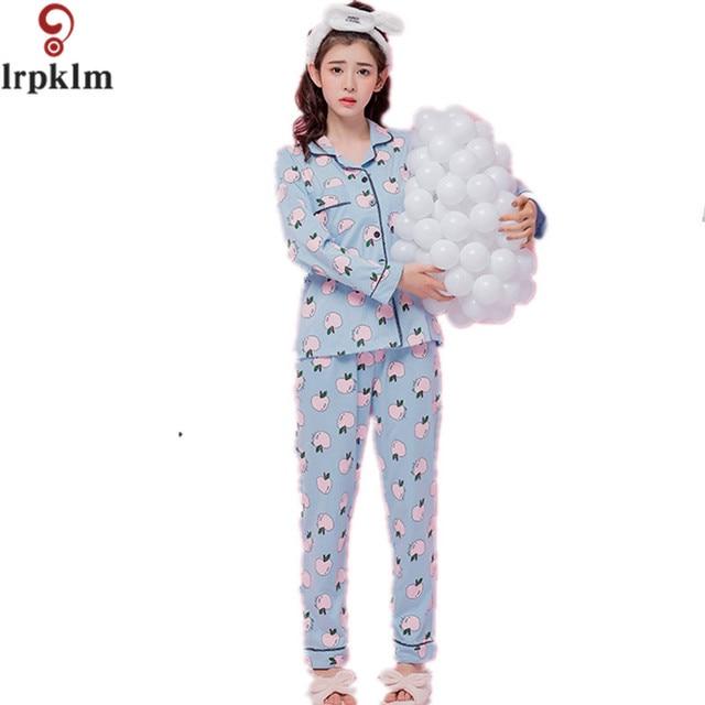 121672506e New Arrival Women Spring Pajama Set Thin Cotton pyjamas Ladies Long Sleeve  Sleepwear Women Print Clothing Set M-4XL SY470