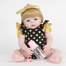 55cm Full Silicone Newborn Princess Girl Doll Lovely Reborn Baby Doll Toy for Kids Birthday Christmas