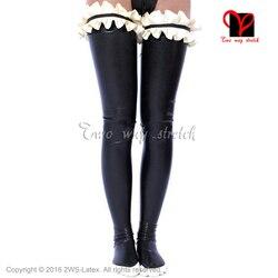 Sexy In Lattice lunghi coscia alta calze con le increspature e pezzi speciali sulla parte superiore di Gomma calzamaglia del Piedino di usura WZ-028