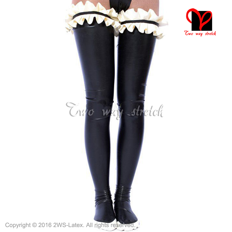 Sexy Long Latex Thigh High Stockings With Ruffles And Trims On Top Rubber Tights Leg Wear WZ-028