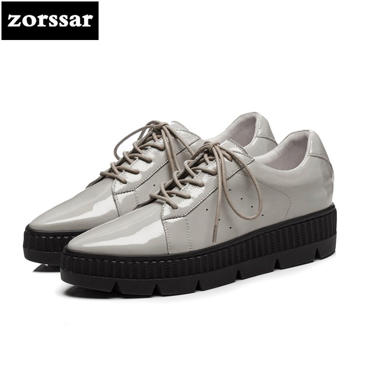 {Zorssar} 2018 New Fashion Patent leather Flats platform Women shoes Casual flat Female shoes woman sneakers shoes Student Shoes instantarts women flats emoji face smile pattern summer air mesh beach flat shoes for youth girls mujer casual light sneakers