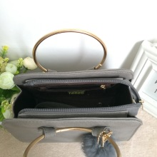 Metal Ring Handle PU Leather Handbag