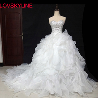 Ruffle tube top luxury long trailing Bridal Sexy Cheap Price Fashionable Wedding Dresses Lace Beads Crystal Wedding Gown