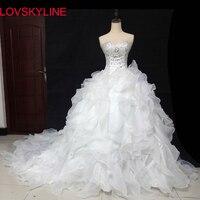 Rüsche rohr top luxus lange schleppende Braut Sexy Günstigen Preis Modische Brautkleider Spitze Perlen Kristall Hochzeit Kleid