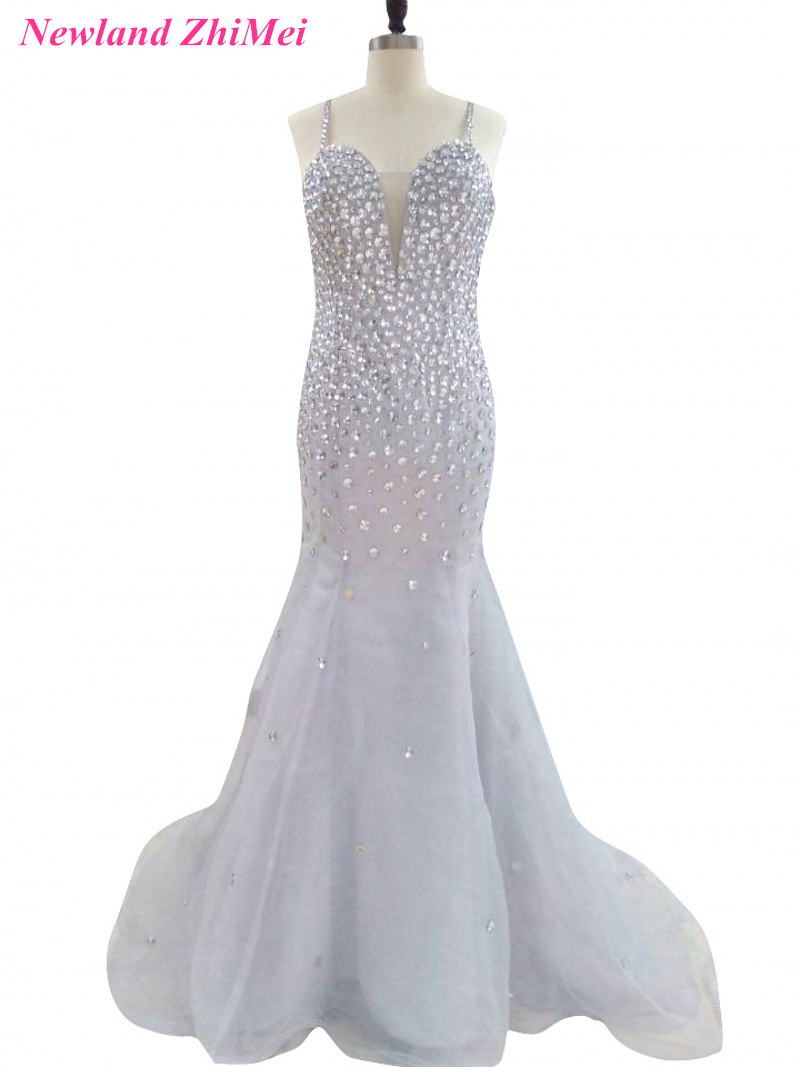 Silver Gray Mermaid Prom Dress 2017 Luxury Spaghetti Straps Rhinestones Woman Formal Evening Gown Great Design