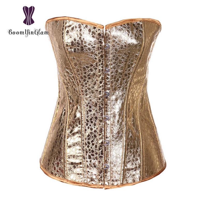 f7b4bd8873d2b ... Free Shipping Elegant Women Dance Costumes Waist Corset Body Shaper  Faux Leather Gold Sequin Overbust Corsets ...