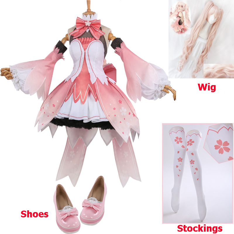 Miku Vocaloid V Miku Cosplay Costume Sakura Miku Dress Halloween Carnival Party Costumes For Women High Quality Free Shipping