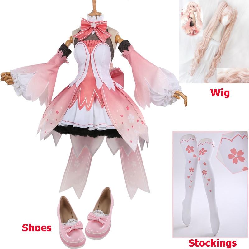 Miku Vocaloid V Miku Cosplay Costume Sakura Miku Dress Halloween Carnival Party Costumes For Women High Quality Free Shipping