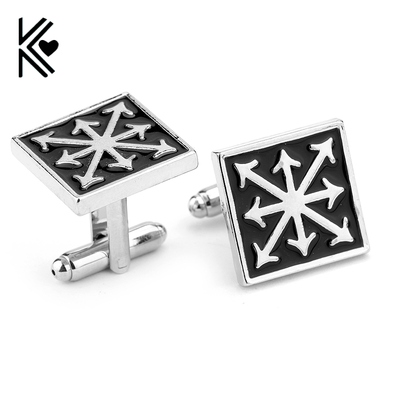 3D Game Warhammer 40k Chaos Star Black Enamel Cuff Links Classic Vintage Square Shirt Brand Cuff Buttons Cufflinks For Mens Gift
