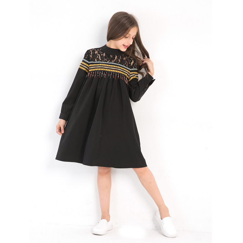 Girl Dresses for Teen 5 7 9 11 13 Years Long Sleeve Dress Elegant Lace Tassels Black Kids Outfit Teenage Clothing