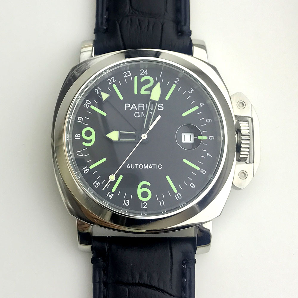Parnis Watch 44mm GMT Automatic Movement Men's Watch Stainless Steel Polished Case Leather Strap