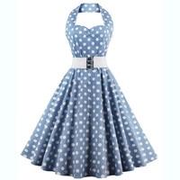 Women Sexy Halter Neck Vintage Short Dresses Summer 2018 Casual Midi Dress Retro Party Swing High Waist Blue Polka Dots Dresses