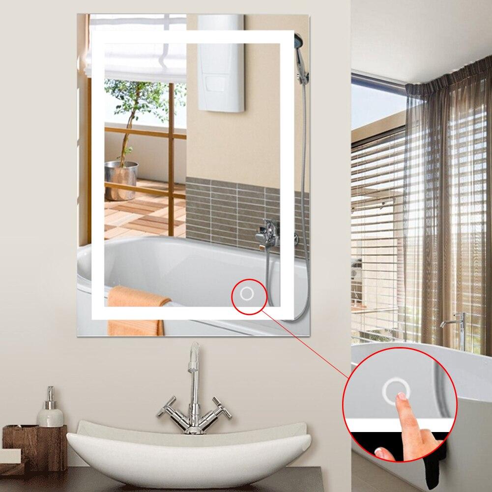 LED 5050 جدار الحمام مضاءة جدار جبل ماكياج مع مرآة لمسة زر جديد للمنزل فندق الحمام أنيق HWC-في ألعاب الجمال والأزياء من الألعاب والهوايات على  مجموعة 1