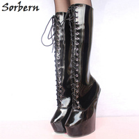 Sorbern Woman Boots 20CM High Heels +5CM Platform Fetish Sexy Knee High Cross tied Heelless Wedge Horse Ponying Stallion Hoof