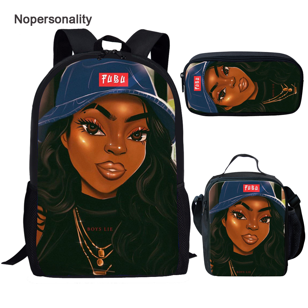 Nopersonality School Bags Set For Kids 3pcs/set Black Art African Girls Print Book Bag Children Large Capacity Schoolbag Mochila