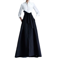 2017 Custom Made Black Button Long Skirts For Women With Button Sash Maxi Skirts Plus Size