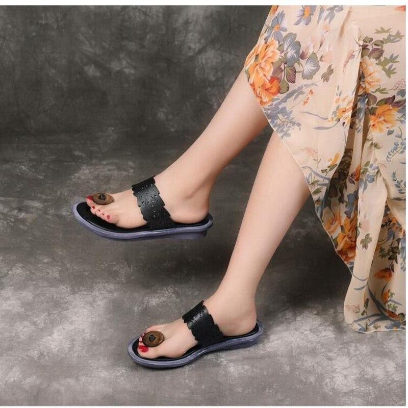 2019 été en cuir véritable femmes sandales littéraires rétro tongs pour femmes femmes plage pantoufles Top qualité dames chaussure Sli