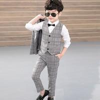 Plaid Boy's Suit Lattice Suit 3pcs Jacket Vest Trousers Kids Baby Boy Clothes Clothing Sets Gentleman Uniform Boys Suits Outfit