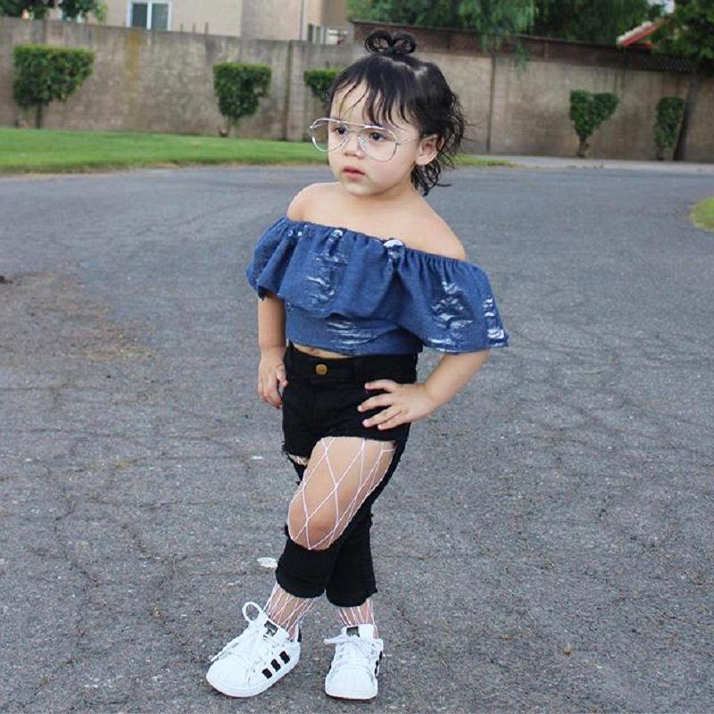 3daf4412db9 Aliexpress.com : Buy Toddler Baby Girls Ruffle Crop Top Off Shoulder kids  Little Girl beggar Denim T shirt Baby Clothes 0 6T from Reliable t-shirt  baby ...