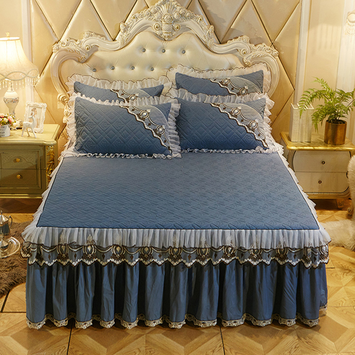European Luxury Bedspreads And 2PCS Pillowcase Thick Cotton Bed Skirt With Lace Edge Twin Queen King Size Bedding Set Non-slip(China)