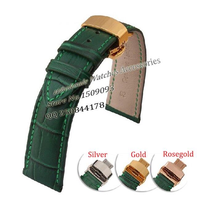 Зеленый Кожаный Ремешки Для Наручных Часов С Золото развертывания Застежка Высокого качества Часы Аксессуары для бренда мужчины часы Водонепроницаемый Стильный 20 мм