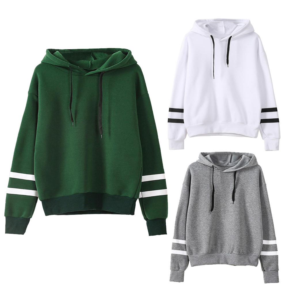 2017 Fashion Autumn Winter Striped Hooded Sweatshirt Women Long Sleeve Jumper Hooded Pullovers Female Sweat Suits Tracksuit
