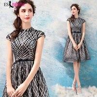 2019 Black Evening Dress Vestidos De Fiesta De Noche White Lace Appliques Evening Dresses Evening Gown Robe De Soiree ES2305