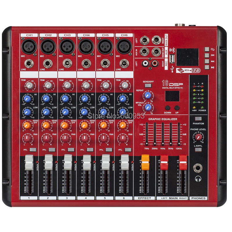 MiCWL 6 Channel Karaoke Studio Stage Mixing Console Sound Bluetooth Mixer ( USB 48V Monitor Recording 16DSP ) SMR600-USB mini portable audio mixer with usb dj sound mixing console mp3 jack 4 channel karaoke 48v amplifier for karaoke ktv match party