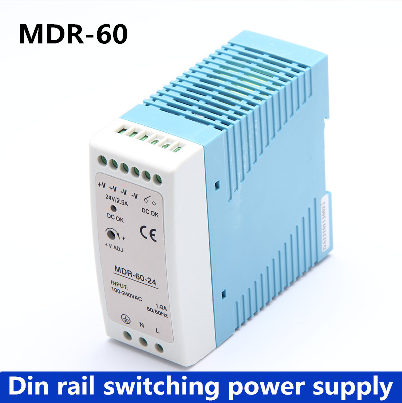 MDR-60 Din Rail Power Supply 60W 12V 5A, 24V 2.5A Switching Power Supply AC 110v/220v Transformer To DC 12v,ac dc converter fonte switching power 60w 12v s 60 220v ac to dc 5v 12a 12v 5a 15v 4a 24v 2 5a 6v switching power supply led driver adapter