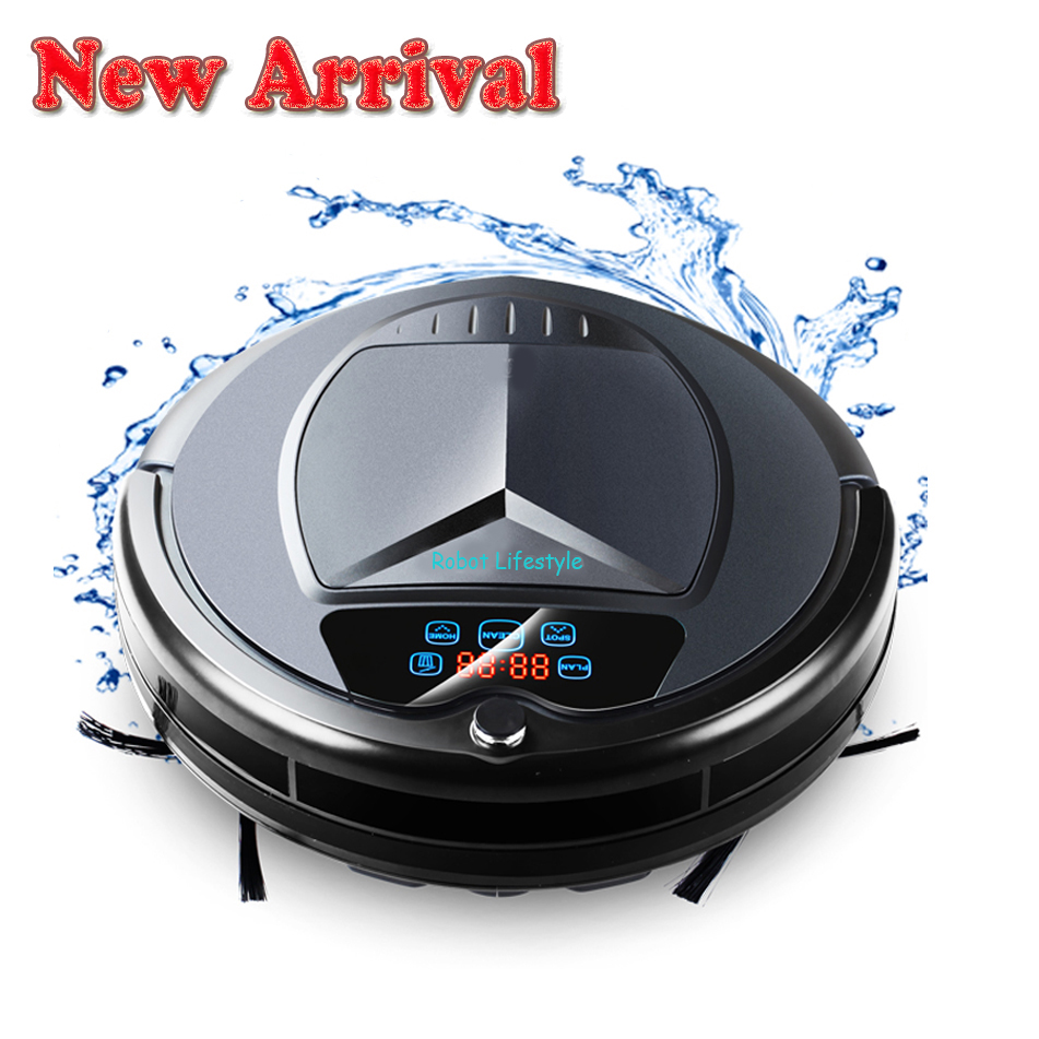 (Free shipping to all countries) 2017 Newest Wet and Dry Robot Vacuum Cleaner,with Water Tank,TouchScreen,Schedule,SelfCharge, free shipping to russia newest 6 in1 robot vacuum cleaner with 6 drop sensors to keep unit from falling off sonic wall