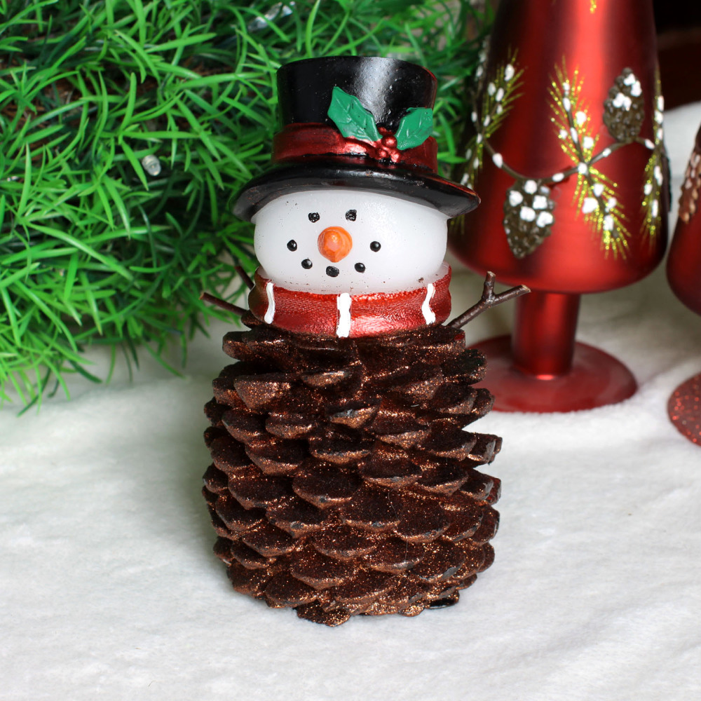 christmas pine cone led snowman candle light with timerglitter powder in surfaceholiday decorbattery operated775 inches