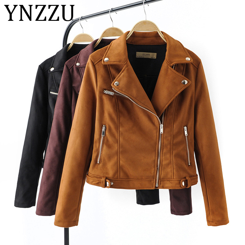 YNZZU 2019 Autumn Winter   Suede     Leather   Jacket Women Solid Turn Down Collar Long Sleeve Motorcycle Biker Jackets Coat A1020