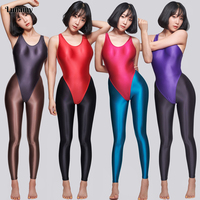 Lunamy Satin Glossy Leotards Sexy High Cut Bikini Thong Bodysuit Women Glitter Shiny One Piece Swimwear Bathing Suit LEOHEX