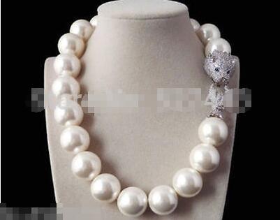 FREE SHIPPING> 18mm black green shell pearl inlay zircon leopard head DE LUXE necklace green leopard