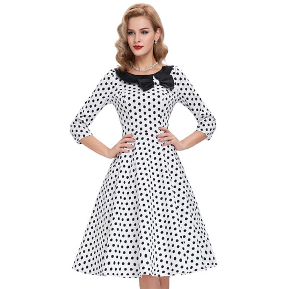 Belle Poque Retro Women Dresses 2017 Polka Dots Knee Length Party Dress  Summer 3 4 Sleeve Rockabilly Elegant Office Vestidos-in Dresses from Women s  ... 913f467d5947