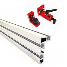 600mm 800mm profil aluminiowy ogrodzenia 75mm wysokość T-śledzi i przesuwne uchwyty ukośnego Gauge ogrodzenia złącze do obróbki drewna akcesoria tanie tanio Woodworking Tool Aluminium Profile T-tracks Slot Miter Connector Miter Track Stop