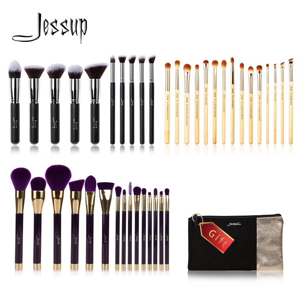 Jessup Buy 3 get 1 gift Makeup Brushes set Foundation blush Liquid Kabuki Eyeshadow Eyeliner Lip Contour Make up Brush Smudge free shipping 3 pp eyeliner liquid empty pipe pointed thin liquid eyeliner colour makeup tools lfrosted purple