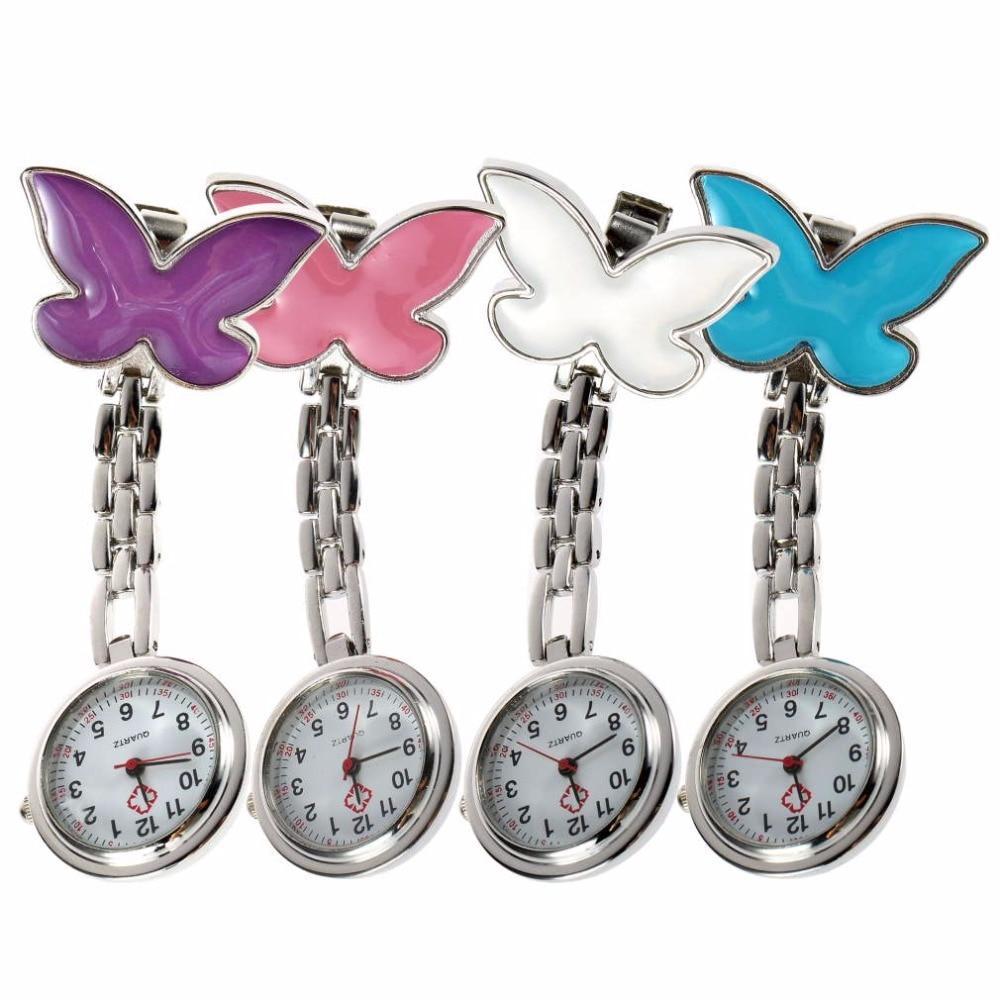 Pocket Medical Nurse Fob Watch Women Dress Watches 4 Color Clip-on Pendant Hanging Quartz Clock Butterfly Shape Relogio De Bolso
