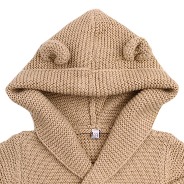 Knit Hooded Cardigan with Hood