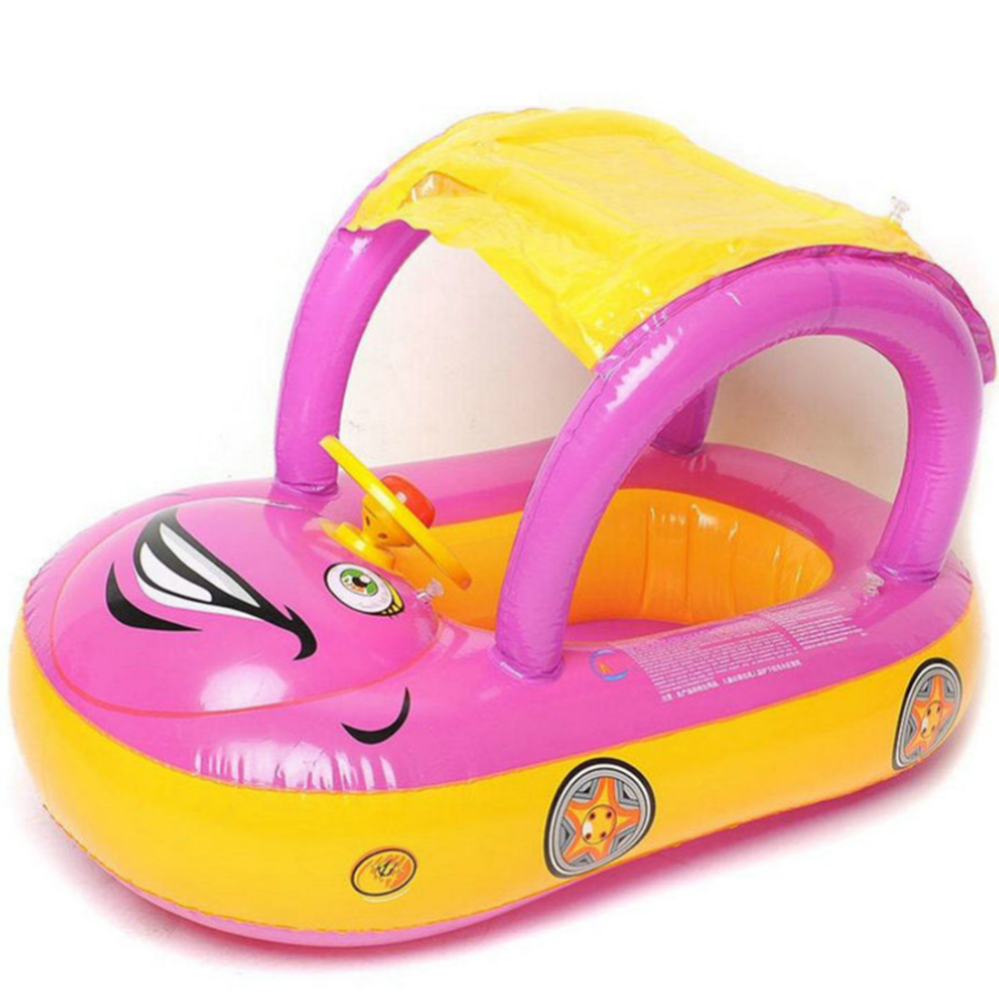 Inflatable Baby Pool Float Safety Car Shape Swimming Ring with Sun Canopy Sunshade