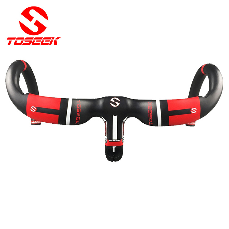 new style full carbon fiber road bike integrated handlebar bent handlebar UD 400/420440*90/100/110/120mm bike parts black red toseek full carbon fibre bicycle road handlebar integrated bike handlebar stem cycling bent bar ud matte gloss balck logo