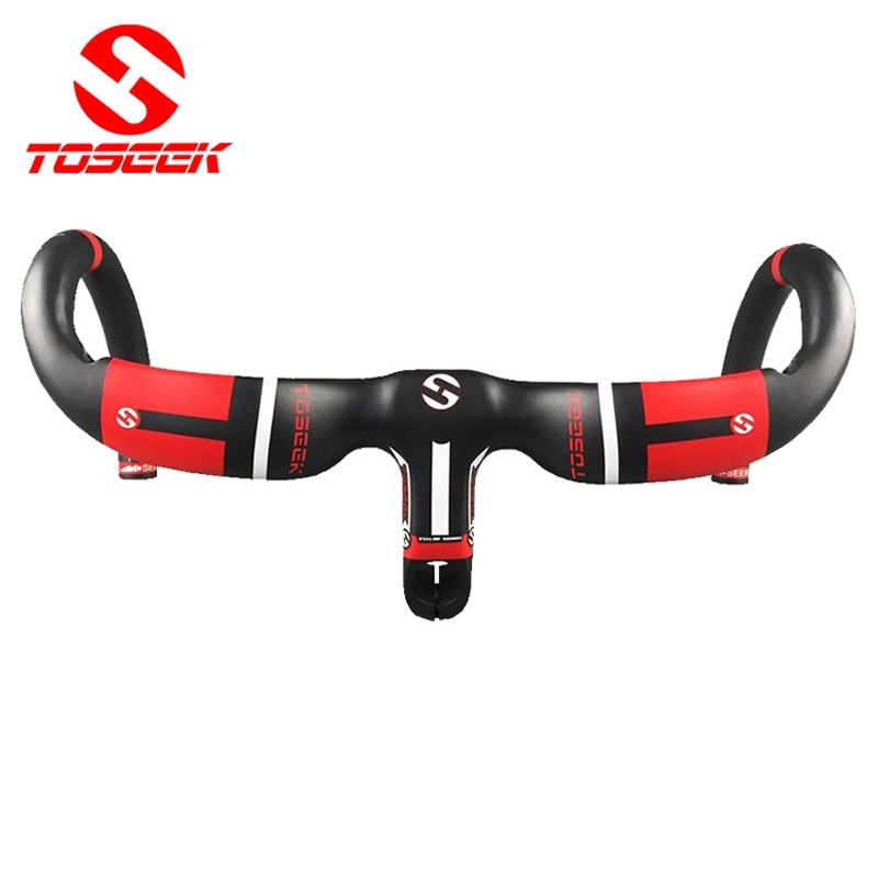 Nuevo estilo de fibra de carbono completa bicicleta de carretera manillar integrado manillar doblado UD 400/420440 * 90/100/110 / 120mm piezas de bicicleta negro rojo