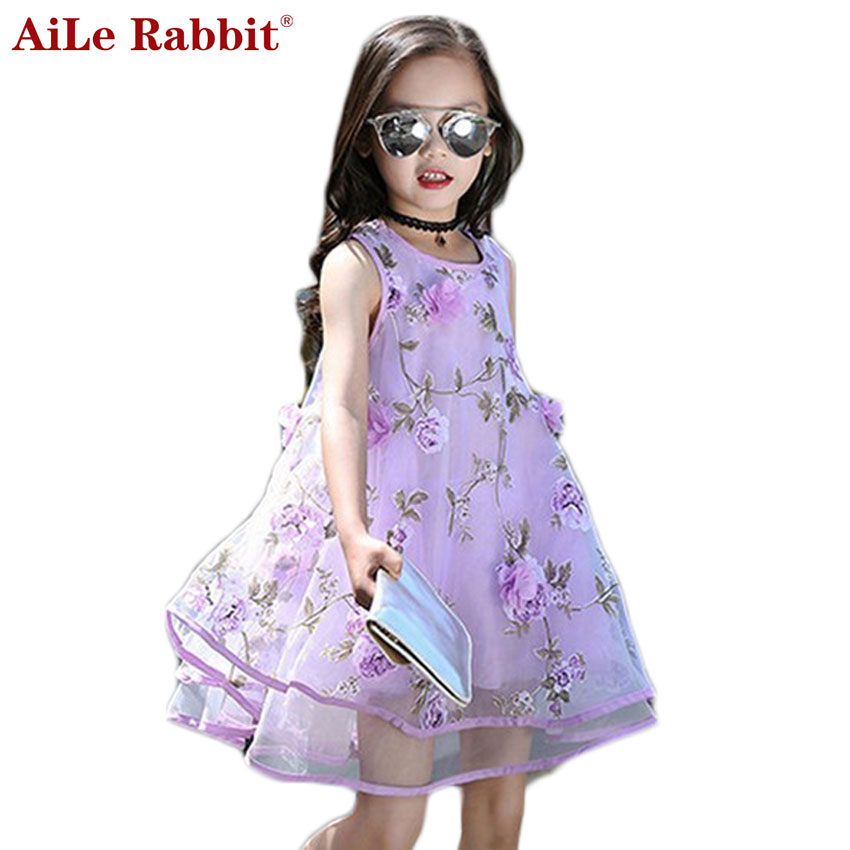AiLe Rabbit 2017 Summer Style Girls Kids Fashion Flower Lace Sleeveless Dress Baby Children Clothes Infant Party Dresses aile rabbit summer 2016 new baby boy pattern rabbit toddler plaid kids clothes children clothing set