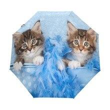 Three Folding Lovely Cat Umbrella Automatic Sun Umbrella Rain Women Windproof Business Paraguas for Children Gift