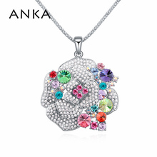 100% Austria crystal long Rose Flower pendant necklace jewelry fashion MADE WITH SWAROVSKI ELEMENTS for women 2014 #110585